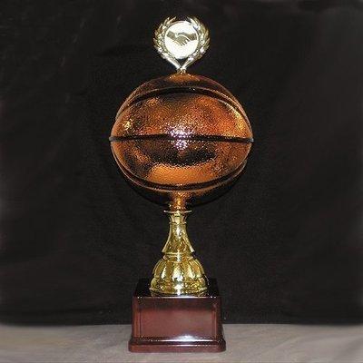 """גביע מתכת כדורסל קוטר 20 ס""""מ כולל הקדשה עם מקום לסמל/לוגו גובה 50 ס""""מ"""