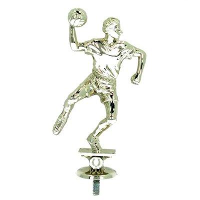 """פסלון כדוריד גבר צבע זהב על בסיס שיש גובה 16 ס""""מ כולל הקדשה"""