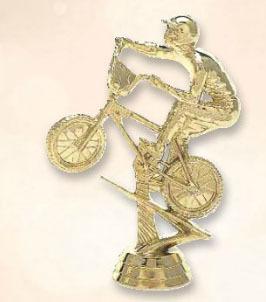 פסלון אופניים אופני שטח בי אם אקס  על בסיס שיש ג. 14 מ'מ צבע זהב כולל הקדשה