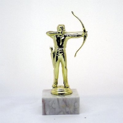 """פסלון קשתות גברים על בסיס שיש ג. 17 ס""""מ צבע זהב כולל הקדשה"""