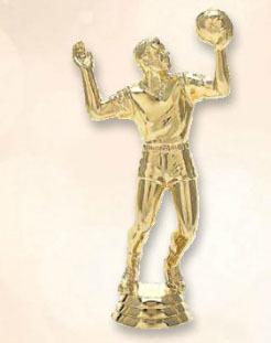 """פסלון כדורעף גבר צבע זהב גובה 17 ס""""מ על בסיס שיש כולל הקדשה"""