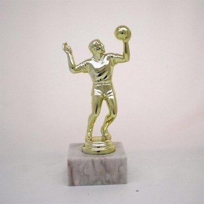 """פסלון כדורעף גבר על בסיס שיש גובה 17 ס""""מ צבע זהב כולל הקדשה"""