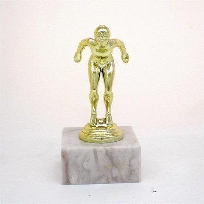 """פסלון שחיה נשים על בסיס שיש גובה 14 ס""""מ צבע זהב כולל הקדשה"""