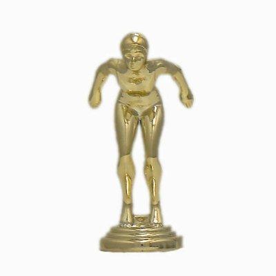 """פסלון שחיה גבר על בסיס שיש גובה 17 ס""""מ צבע זהב כולל הקדשה"""