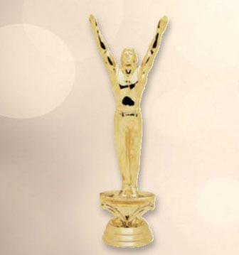 """פסלון התעמלות גבר על בסיס שיש גובה 19 ס""""מ צבע זהב כולל הקדשה"""