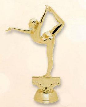 """פסלון התעמלות נשים על בסיס שיש גובה 17 ס""""מ  צבע זהב"""