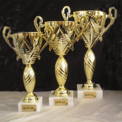 """דגם 2679 גביע יוקרה איטלקי מתכת ידיות צבע זהב על בסיס שיש גובה 28/36 ס""""מ מחיר החל מ"""
