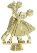 פסלון מחול ריקודים סלוניים על בסיס שיש ג. 18 ס