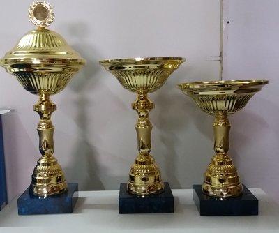 """דגם 2833 גביע מתכת צבע זהב כולל הקדשה גובה 24/28/38 ס""""מ מחיר החל מ"""