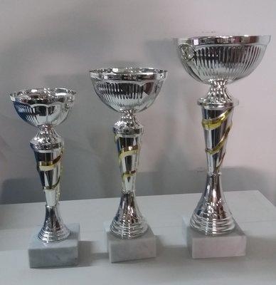 """דגם101-1321 גביע מתכת צבע כסף-זהב כולל הקדשה גובה 23/26/29 ס""""מ מחיר החל מ"""