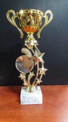 """דגם 1170 גביע מתכת זהב ידיות עם מקום לסמל ענף/לוגו כולל הקדשה גובה 26 ס""""מ"""