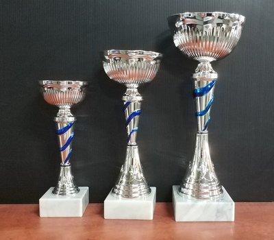 """דגם101-1330 גביע מתכת צבע כסף-זהב כולל הקדשה גובה 22/25/28 ס""""מ מחיר החל מ"""