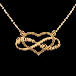 שרשרת זהב בשילוב אינפיניטי לב ושמות