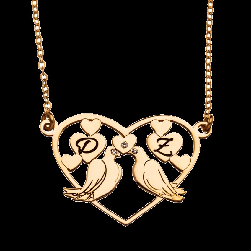שרשרת זהב זוג יונים