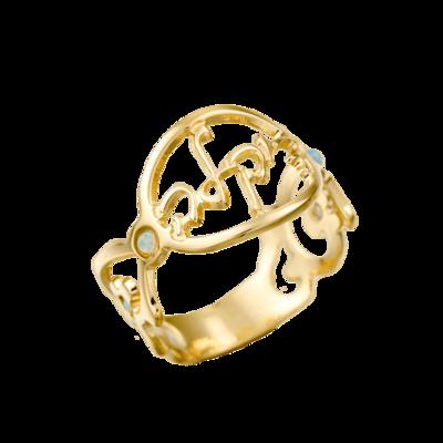 טבעת שם עגולה בעיצוב חריטה אישי מעוטר באבני סברובסקי ועיטורים