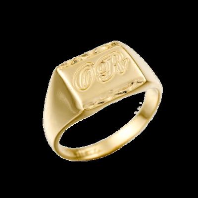 טבעת חותם מלבנית בחריטה אישית