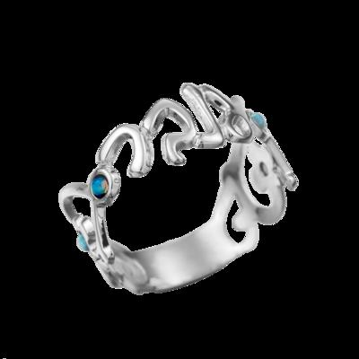 טבעת שם בעיטור פרחים ובשיבוץ אבני סברובסקי