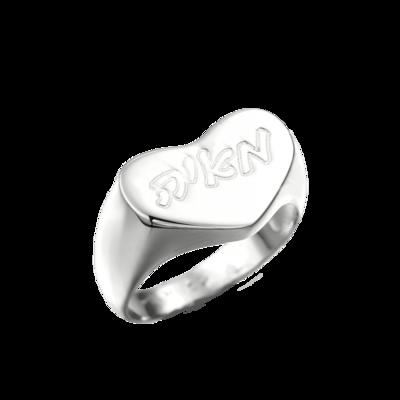 טבעת אישית לב בסגנון חותם - זהב