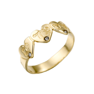 טבעת זהב לבבות בחריטת שם אישית ושיבוץ אבנים