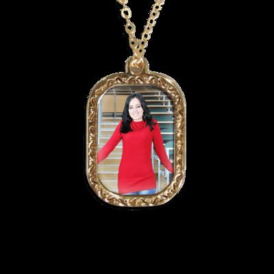 שרשרת תליון תמונה מלבן בעיצוב אישי - זהב או כסף