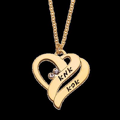 שרשרת זהב לבבות בחריטה אישית