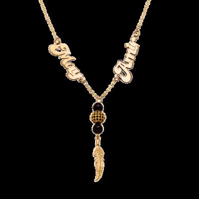 שרשרת שם זהב שני שמות ועיטורים