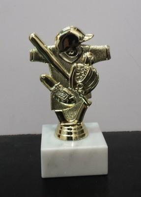 """פסלון בייסבול כללי צבע זהב על בסיס שיש גובה 14 ס""""מ כולל הקדשה"""