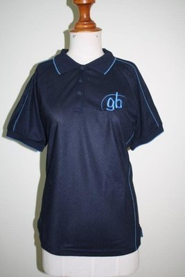 Leaders Polo Shirt Navy (logo) with mid Blue Piping