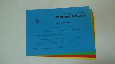 Pioneer Award Certificates (each)