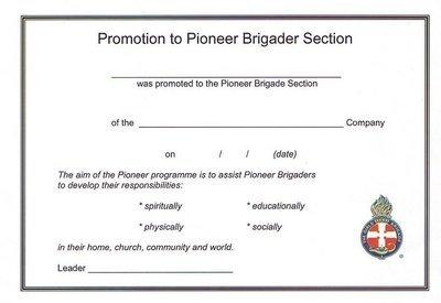 Pioneer Promotion Certificate
