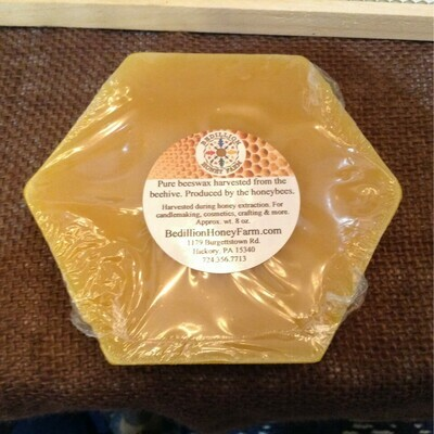 Beeswax Hex, approx. wt. 8 oz  (1/2 Lb)
