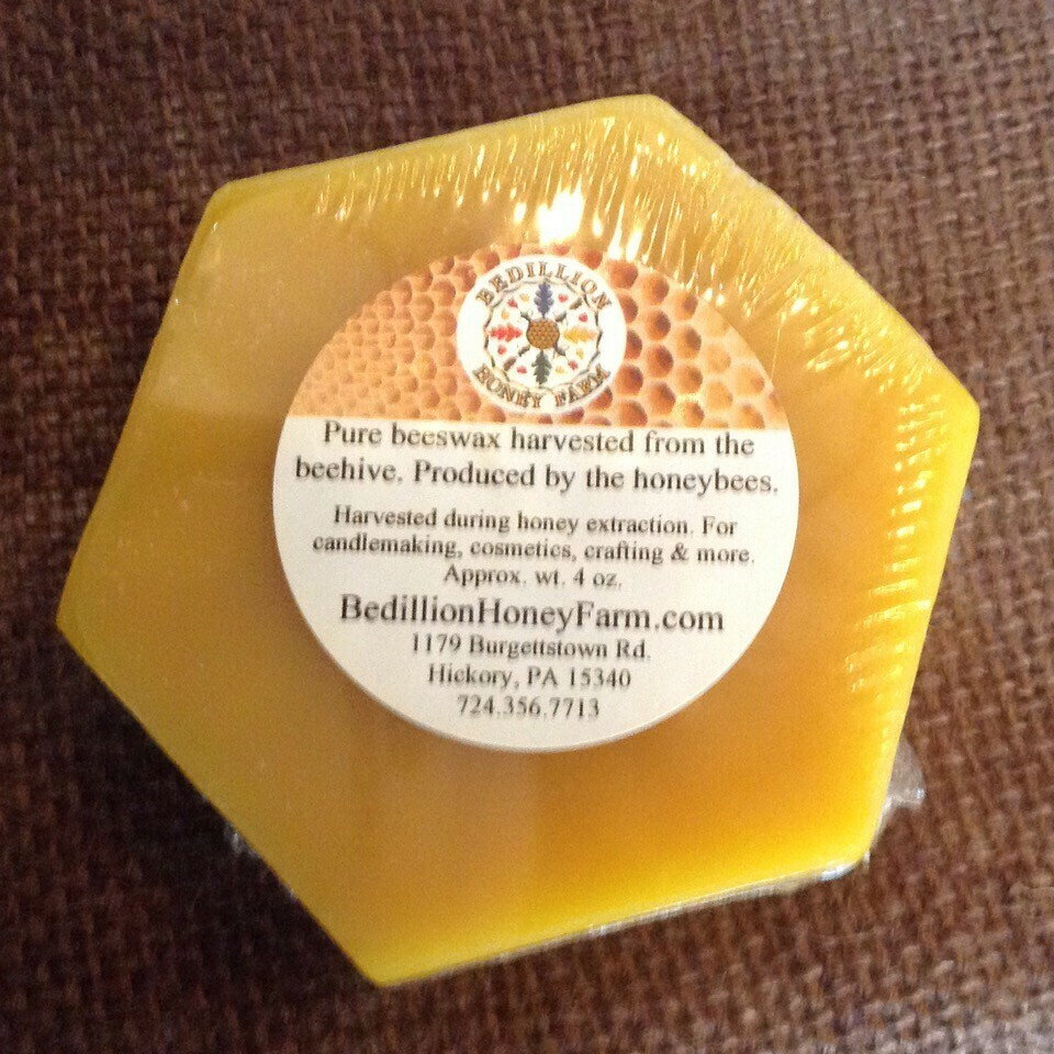 Beeswax Hex, approx. wt. 4 oz (1/4 Lb)