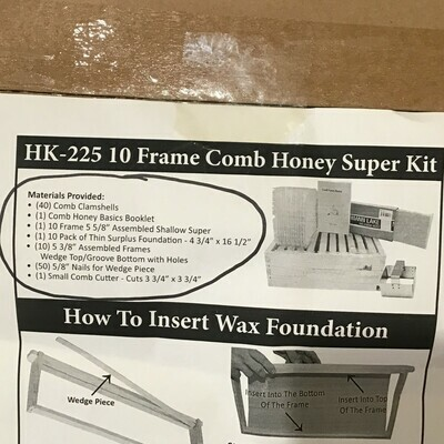 10 FR COMB HONEY SUPER KIT WD -On Farm Pickup Only