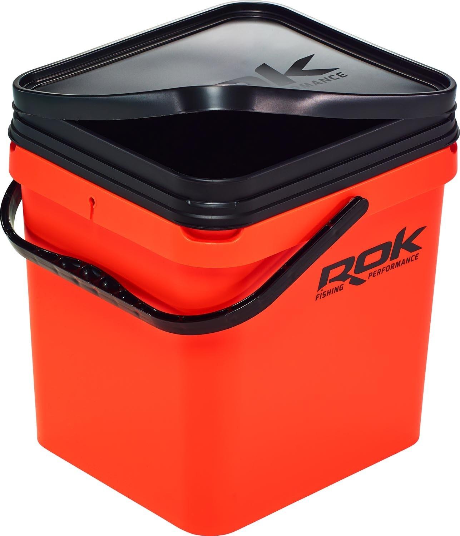 ROK 17 literes Szögletes Csalis vödör + betét + tető szett Square Bait Bucket + Basin Black set