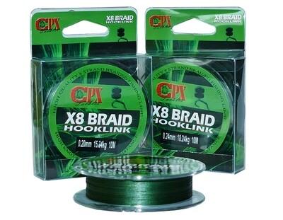 CPX X8 Braid Hooklink - 10m fonott előke