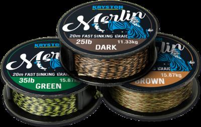 Kryston MERLIN Green fast sinking braid fonott előke 15lb - 20m