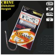 SASAME Chinu lapkás pontyozó, elõkötött horog - 50cm - Nickel - 10db/csomag
