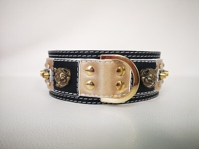 Gold / Black leather and white finishing (6 cm/2,36in)