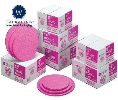 """Round Pink & Light Pink Cake Drums Sizes 10"""" - 14"""""""