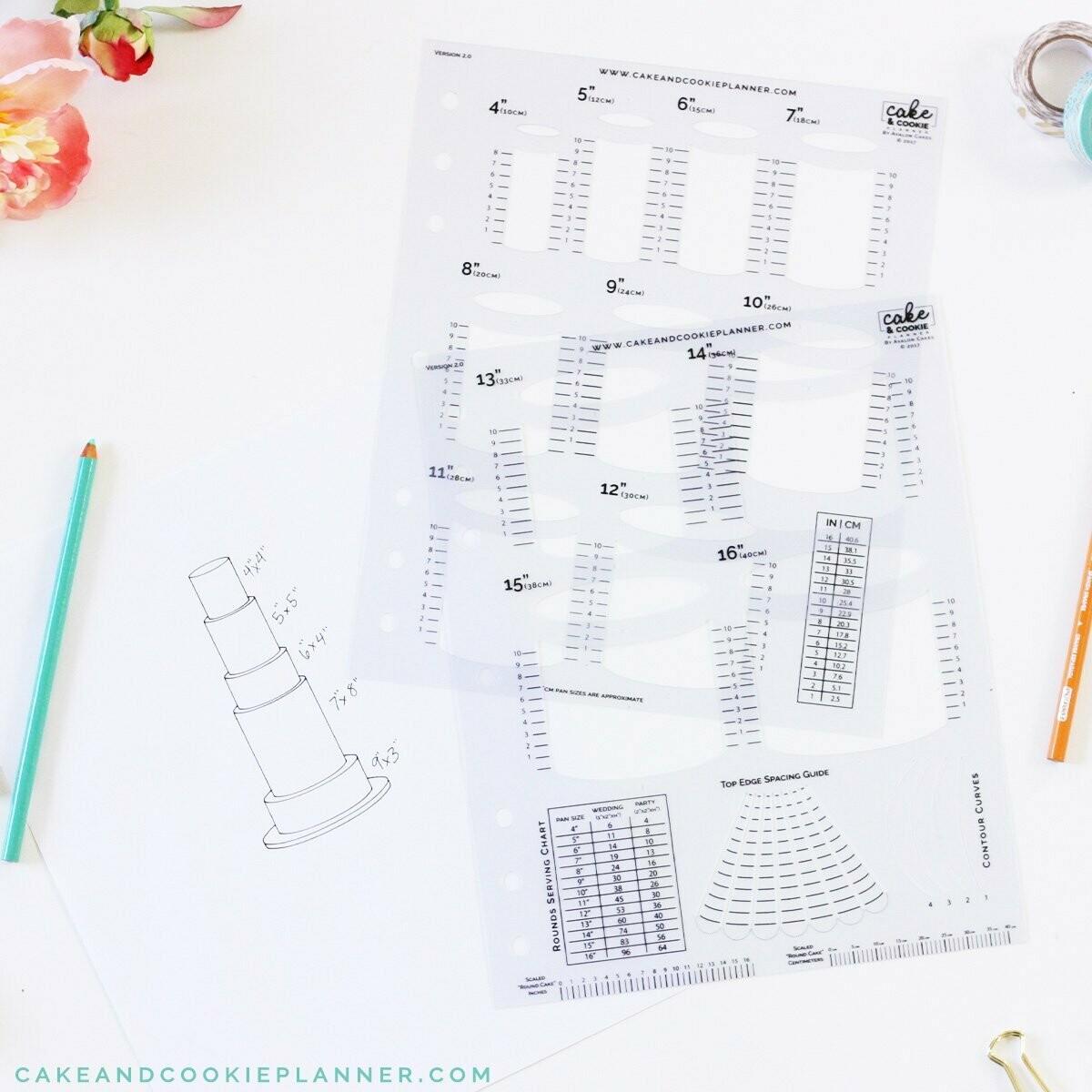 Cake Sketching Templates SET of 4 Basics