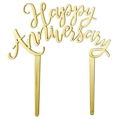 Happy Anniversary Topper Gold