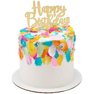 Happy Birthday Topper Gold
