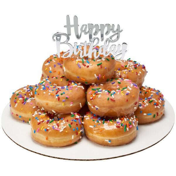 Happy Birthday Topper Silver