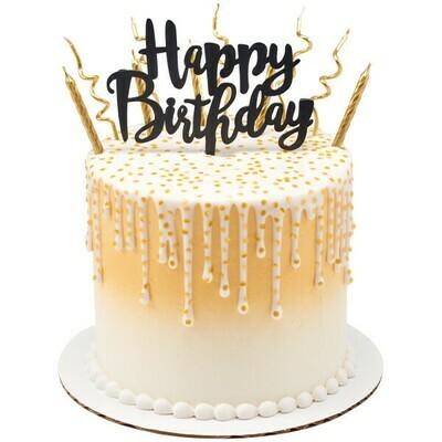 Happy Birthday Topper Black