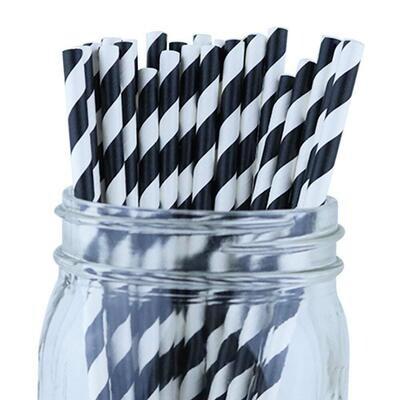 Black Paper Straws 25ct