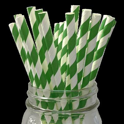 Green Paper Straws 25ct