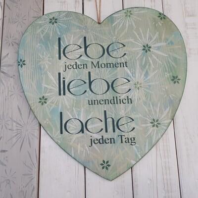Schilderbilder Lebe Liebe Lache, div. Grüntöne