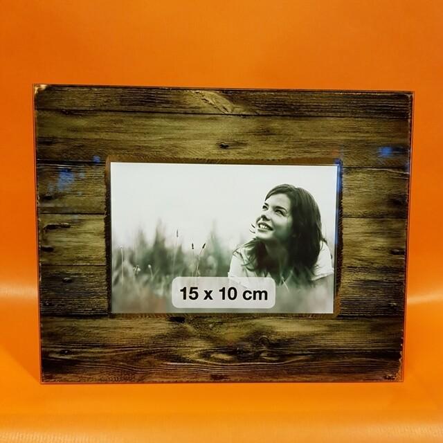 Glas-Bilderrahmen  mit Holzsujet