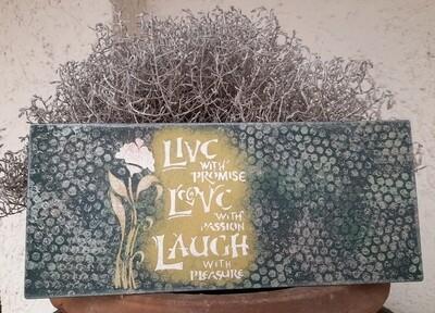 Schilderbilder Magnettafel Lebe - Liebe - Lache, blau-grün