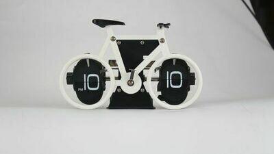 Tisch / Wanduhr Flip, Fahrrad, weiss